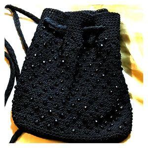 Boho Crochet jet Beaded backpack